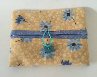 Yellow/blue flower Travel tissue cover, handbag accessory
