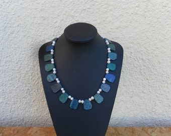 """""""Chrysocolla"""" and cultured pearl necklace"""