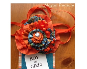 Orange and Blue Fabric. Belly Sash. Maternity Sash. Prop.