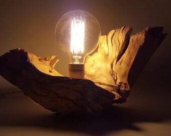 Vintage globe lamp bulb on briarwood-Mod. VATNAJOKULL