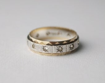antique sterling silver and 9 ct gold eternity ring wedding band vintage wedding ring - Vintage Wedding Ring