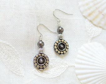 Boho Dangle Earrings - Stocking Stuffers - Womens gift - Nickel free earrings - Hypoallergenic Earrings - Black Silver Charm Drop Earrings