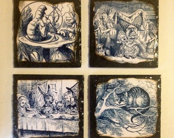 Alice illustration slate coasters