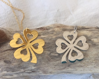 Sterling silver & Gold dipped Clovers w/Hearts