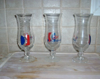 3 Vintage Carival drinking glasses