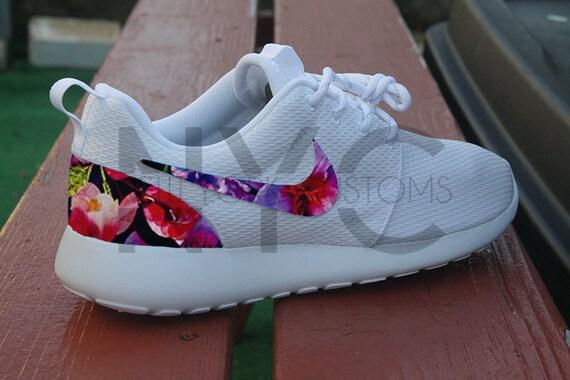 248b402cd13 Floral Paradise Nike Roshe Run Triple White Custom by NYCustoms cheap