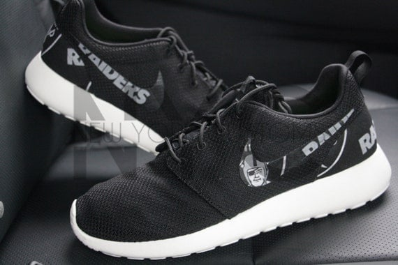 81e3718f6e96 lovely Oakland Raiders Football Nike Roshe Run Black White by NYCustoms