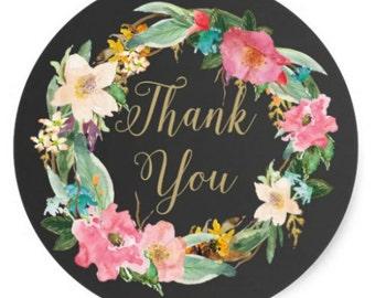 24 Thank you black, gold floral , Chalkboard floral thank you stickers,wedding stickers,thank you card stickers,wedding favor,envelope seals