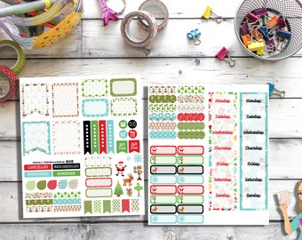 205 - (Chirstmas Sticker Set) -- Planner Stickers, Christmas, Holiday, Stickers, ECLP, Filofax, Plum Paper Planner