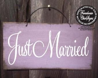 just married sign, wedding decor, wedding sign, newlyweds, 136/95