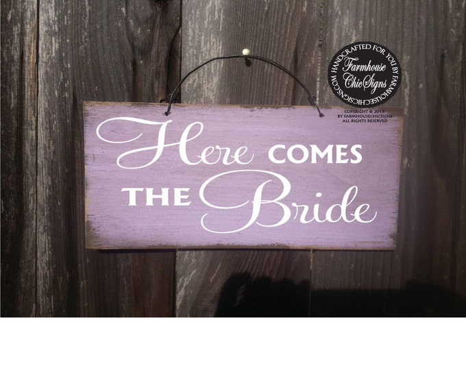 Here Comes The Bride Sign, bride sign, just married sign, wedding sign, rustic wedding, wedding decor, flower girl sign, 146/136