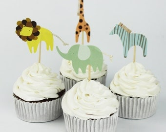 READY TO SHIP Zoo Animal Themed Cupcake Toppers, Animals, Toppers, Picks, Cake Toppers, Cake Topper Pick, Cupcake Picks, Birthday, Baby