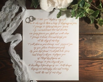 Custom Wedding Vow calligraphy