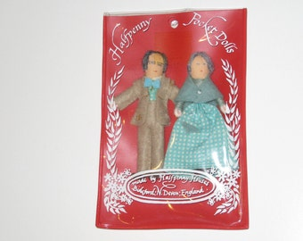 Vintage Dollhouse Miniature Pocket Dolls made by Halfpenny Houses in England in Original Package (Grandpa & Grandma)