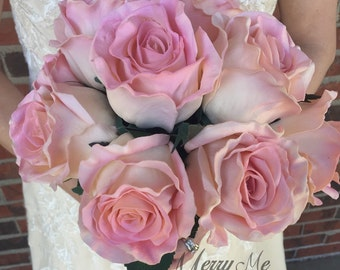 Pink Rose Bouquet - High Quality Rose Bouquet - Rose Bridal Bouquet - Pink Bouquet - Real Touch Rose Bouquet - Large Rose Bouquet