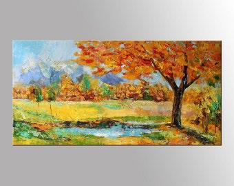 AUTUMN Painting, Tree oil Painting, tree landscapes, Autumn Landscape Oil Painting, Large Painting Textured, Palette Knife Oil Painting, Art