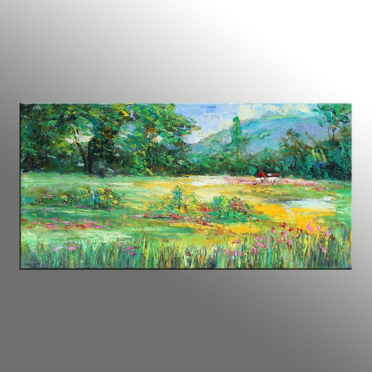 Landscape painting spring green canvas art impressionist for Spring canvas paintings
