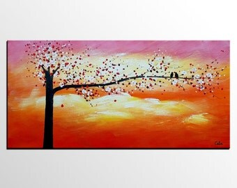 Abstract Art, Wall Art, Canvas Art, LARGE Painting, Original Painting, Contemporary Art, Abstract Painting, Love Birds Art, Wedding Gift