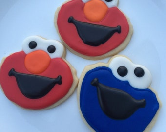 12 ELMO new characters -  elmo - MONSTER inspired sugar cookies - birthday party - boy girl first birthday