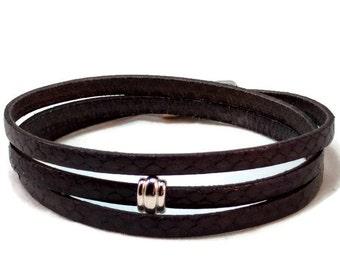 Womens leather bracelet - flat leather bracelet - wrap bracelet - gray bracelet - multi strand bracelet - womens bracelet - magnetic clasp