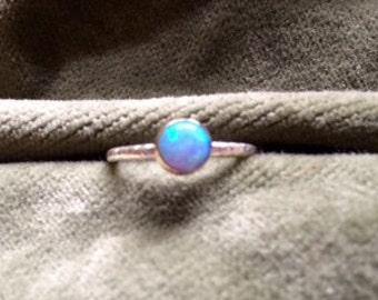 Stacking hammered sterling silver ring with blue opal stone in a brass setting! Ready to ship!