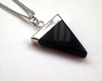 Triangle Pendant Necklace   Blue Sandstone  