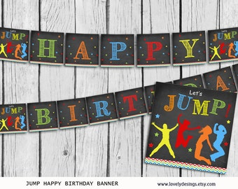 Jump Banner, Bounce house Birthday banner, party banner, Trampoline Banner printable, Instant Download PDF