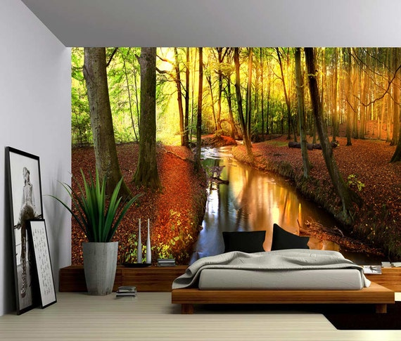 Autumn forest creek large wall mural self adhesive vinyl for Autumn forest wall mural
