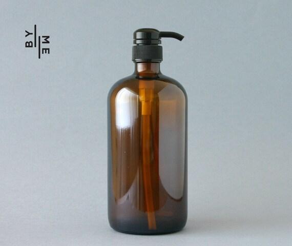 1 litre ambre verre bouteille de savon distributeur de pompe. Black Bedroom Furniture Sets. Home Design Ideas