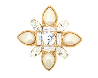 Vintage Monet Pearl and Gold Crystal brooch