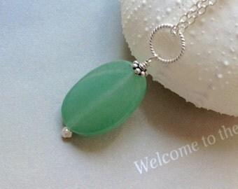 Med Oval Green Adventurine Pendant-  Aventurine Necklace, Aventurine  pendant, Aventurine, green gemstone, sterling silver