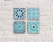Moroccan Tiles, Canvas set, Moroccan MOSAIC SET, Moroccan Wall Decor, moroccan ornaments, Home Decor, Bathroom decor, Housewarming gift, 8x8
