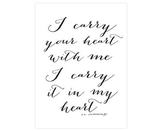 5x7 inches - I carry your heart -  Printable art print -  wedding