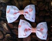 Set Of Two Flamingo Hair Bows - Flamingo Bows - Pigtail Flamingo Bows - Pigtail Bows - Flamingo Hair Bows
