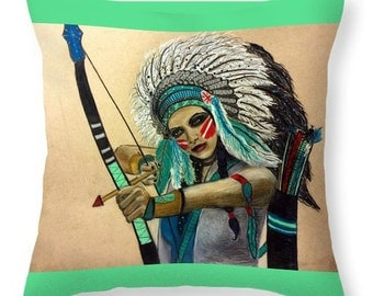 Native Goddess Chief Warrior Throw Pillow *Choose your size and color*