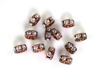 Vintage Bronze and Crystal transparent faceted 6mm rhinestone rondelles. Set of 6 or 12 or 20.