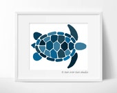 Blue Turtle Print, Printable Art Download for a Nursery, Kids Room, Playroom, or Beach Decor
