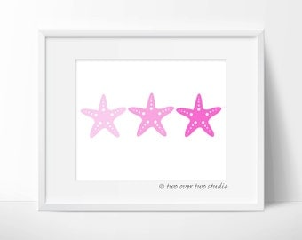 Pink Starfish Print: Digital Printable Art for Beach Decor, Nautical Nursery