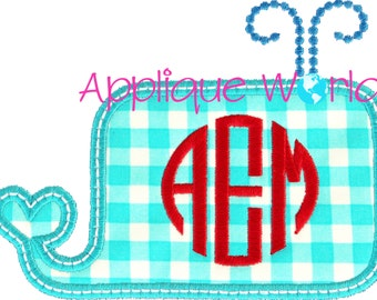 Square Whale for Monogram Applique Embroidery
