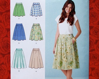 Simplicity Sewing Pattern 1369 Gathered Skirts, 3 Lengths, Overlay, Misses' Size 6 8 10 12 14, Modern Fashion Sportswear, Summer Fall, UNCUT