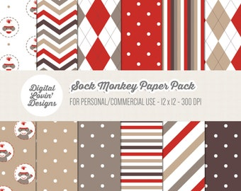 INSTANT DOWNLOAD - 12 Sock Monkey Digital Papers / Scrapbooking, Crafts, Invitations, Digital Scrapbooking for Commercial & Personal Use