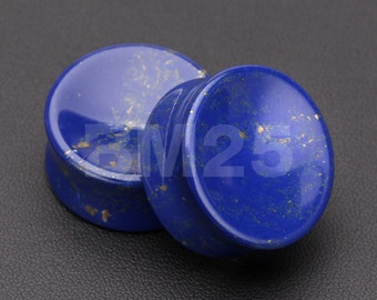 A Pair of Lapis Lazuli Concave Stone Double Flared Plug