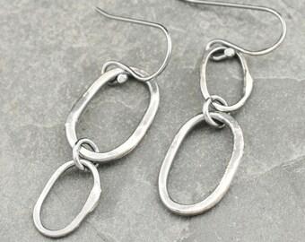 Dangling Sterling Silver Oval Hoops Asymmetrical Earrings Silver 925