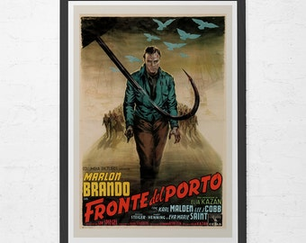 VINTAGE FILM POSTER -  Marlon Brando Movie Poster - On the Waterfront Movie Poster,  Retro Film Poster, Classic Movie Poster