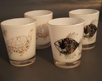 4 Vintage Milk Glass J Snyder Fish Mid Century Modern Bar Glasses