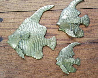 Set of 3 Vintage Brass Fish Wall Art Sculptures