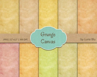 "Grunge Digital Paper Pack: ""Grunge Backgrounds"" with canvas textures, grunge textures, old papers, instant download"