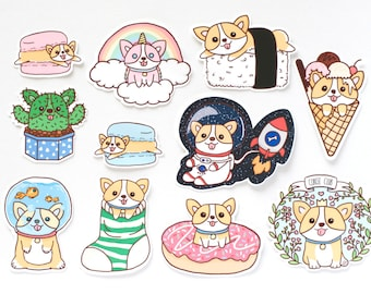 Corgi Stickers | Welsh Corgi stickers | Welsh Corgi | Corgi | dog stickers |cute stickers | pet stickers | die cut stickers | stickers set