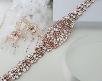 Rose Gold Wedding Accessories, Rose Gold Bridal Accessories, Rose Gold Bridal Belt, Rose Gold Bridal Hair Comb, Hair Pin