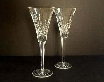 Waterford Lismore Toasting Fluted Champagne Glasses, Set of 2, Classic Crystal Champagne Glasses, Fine Crystal Stemware